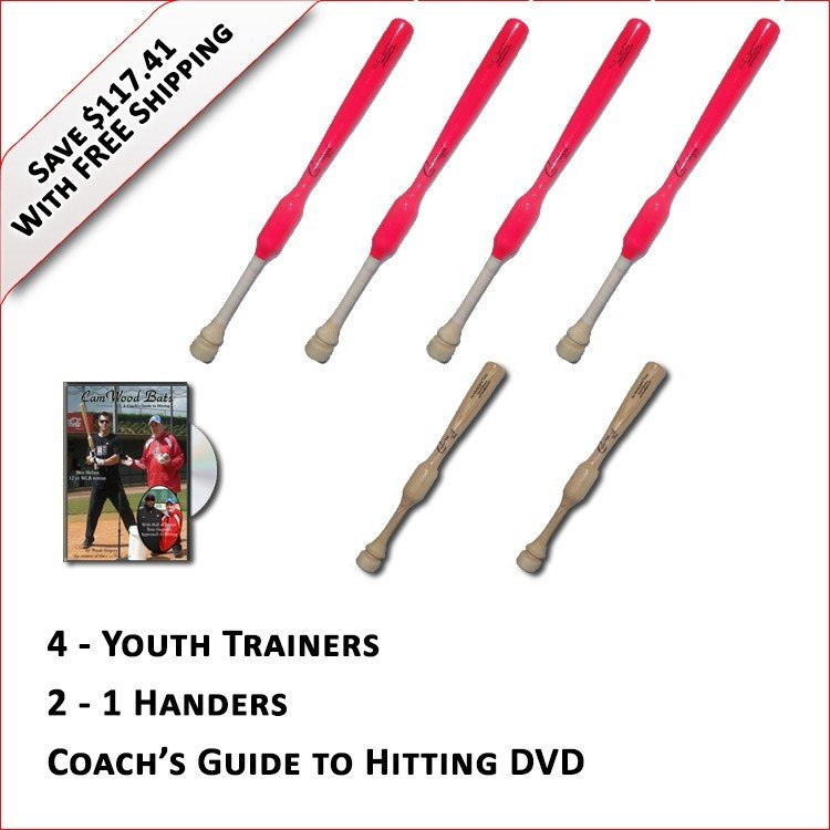 4 Youth  Softball Trainers, 2 - 1 Handers, & Coach's Guide to Hitting DVD