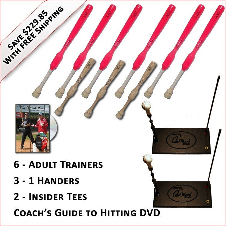 6 Adult  Softball Trainers, 3 - 1 Handers, 2 Insider Tees & Coach's Guide to Hitting DVD
