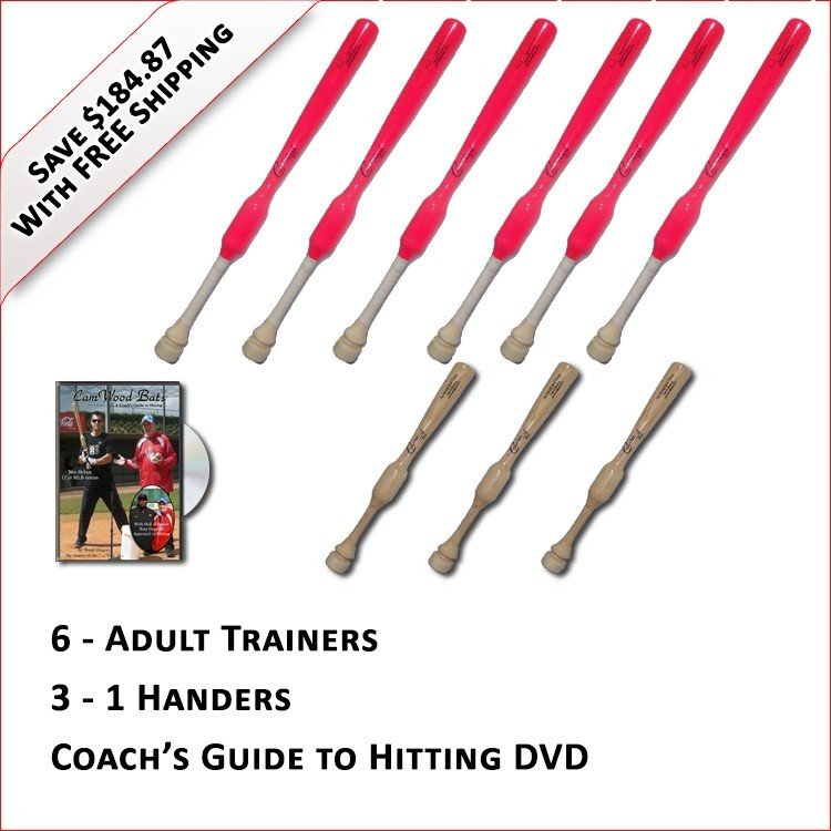 6 Adult  Softball Trainers, 3 - 1 Handers, & Coach's Guide to Hitting DVD