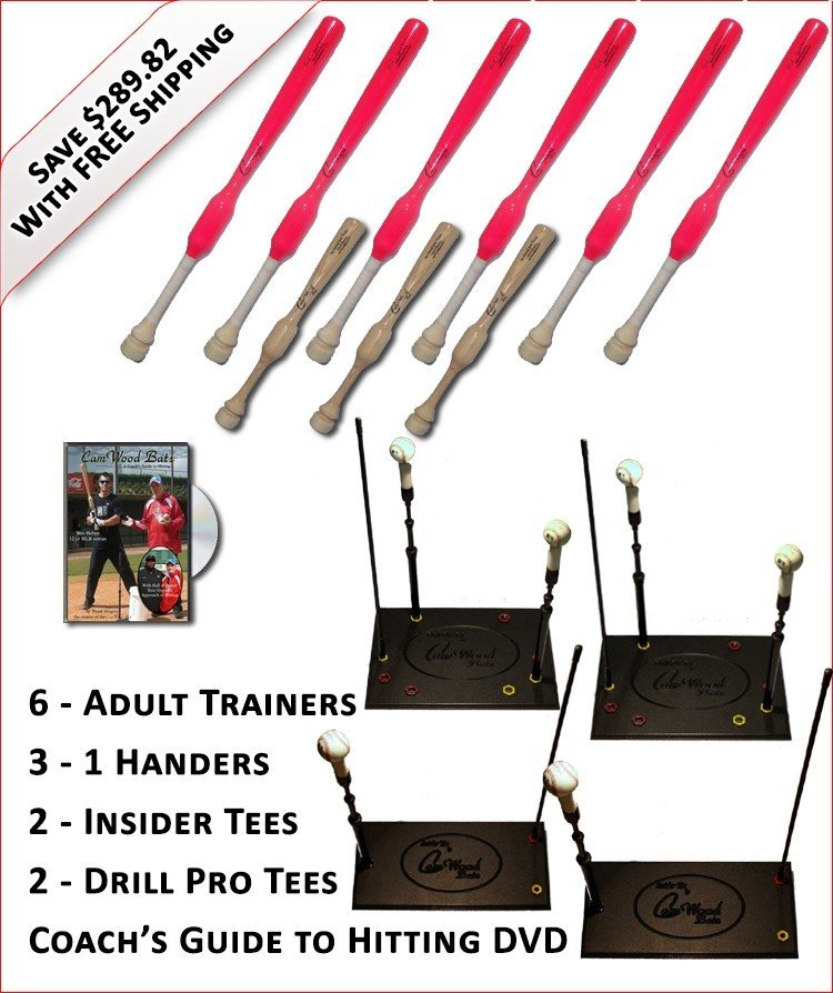 6 Adult  Softball Trainers, 3 - 1 Handers, 2-Insider Tees, 2 - Drill Pro Tees & Coach's Guide to Hitting DVD