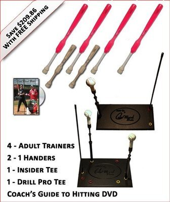 4 Adult  Softball Trainers, 2 - 1 Handers, Insider Tee, Pro Drill Tee & Coach's Guide to Hitting DVD