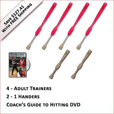 4 Adult  Softball Trainers, 2 - 1 Handers, & Coach's Guide to Hitting DVD