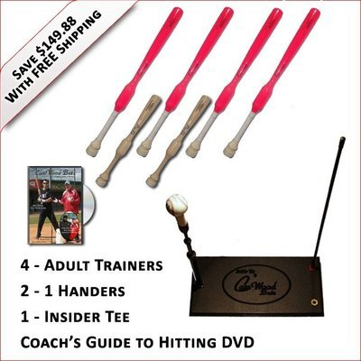 4 Adult  Softball Trainers, 2 - 1 Handers, Insider Tee & Coach's Guide to Hitting DVD