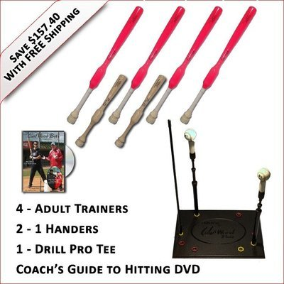 4 Adult Softball Trainers, 2 - 1 Handers, Pro Drill Tee & Coach's Guide to Hitting DVD