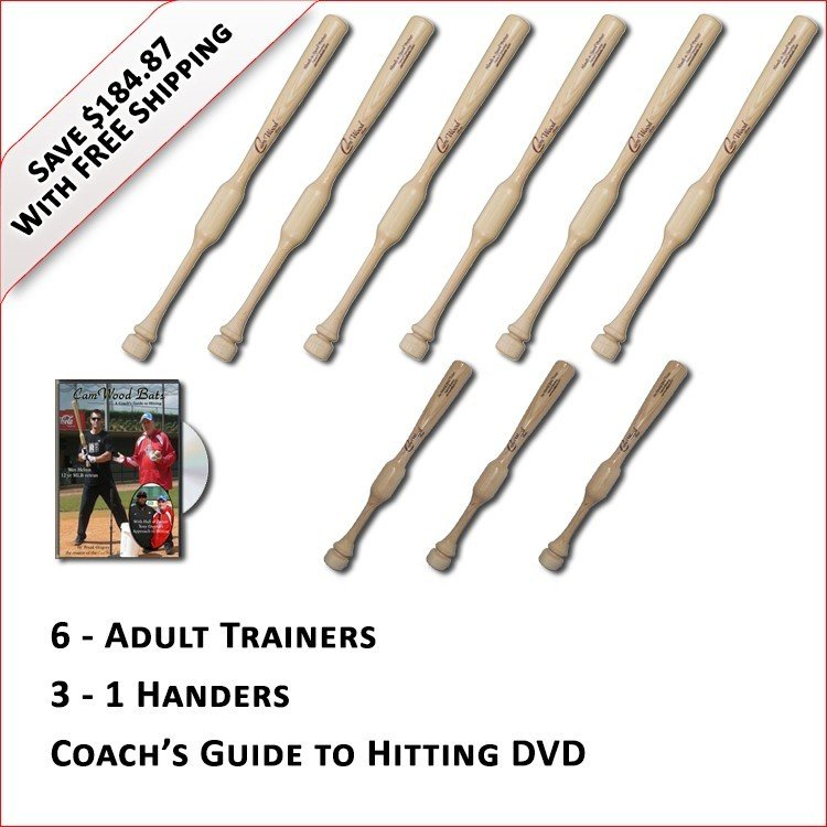 6 Adult Trainers, 3 - 1 Handers, & Coach's Guide to Hitting DVD