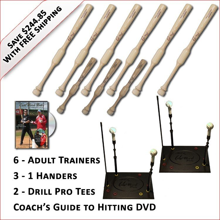 6 Adult Trainers, 3 - 1 Handers, 2 Drill Pro Tees & Coach's Guide to Hitting DVD