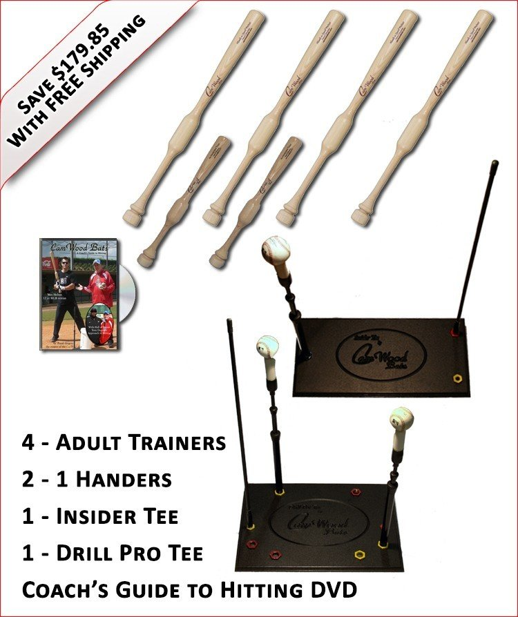 4 Adult Trainers, 2 - 1 Handers, Insider Tee, Pro Drill Tee & Coach's Guide to Hitting DVD