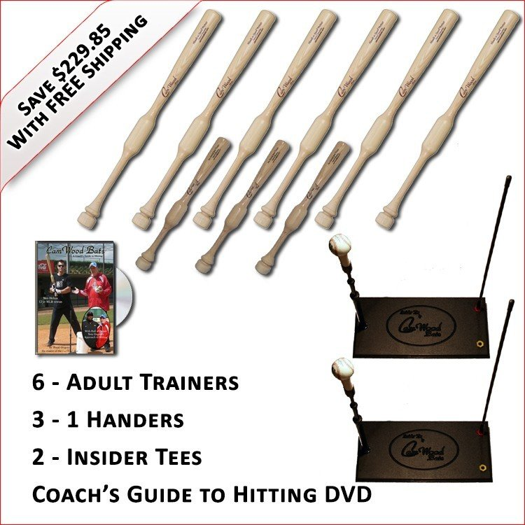 6 Adult Trainers, 3 - 1 Handers, 2 Insider Tees & Coach's Guide to Hitting DVD