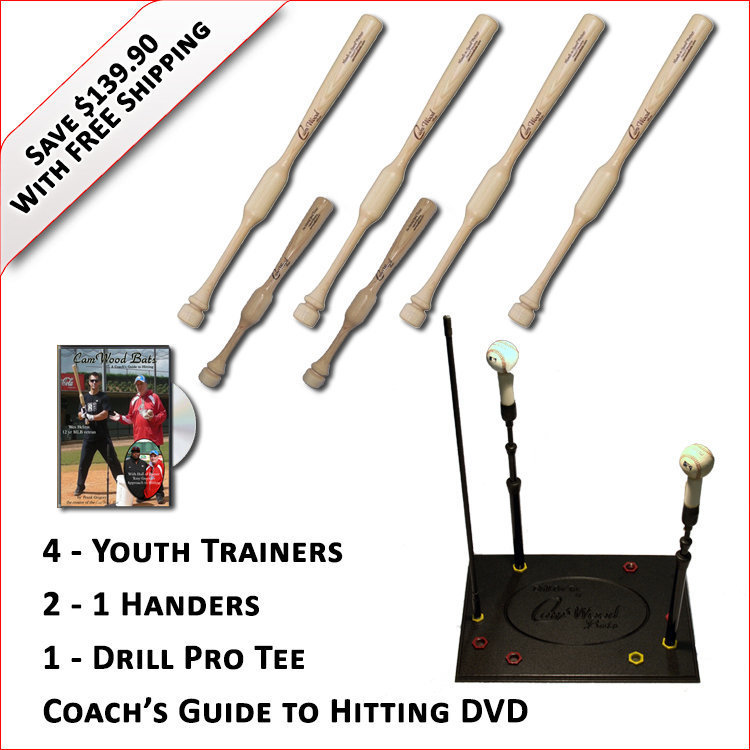 4 Youth Trainers, 2 - 1 Handers, Pro Drill Tee & Coach's Guide to Hitting DVD
