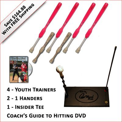 4 Youth  Softball Trainers, 2 - 1 Handers, Insider Tee & Coach's Guide to Hitting DVD