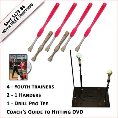 4 Youth  Softball Trainers, 2 - 1 Handers, Pro Drill Tee & Coach's Guide to Hitting DVD