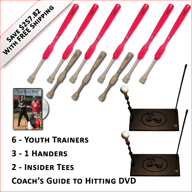 6 Youth  Softball Trainers, 3 - 1 Handers, 2 Insider Tees & Coach's Guide to Hitting DVD