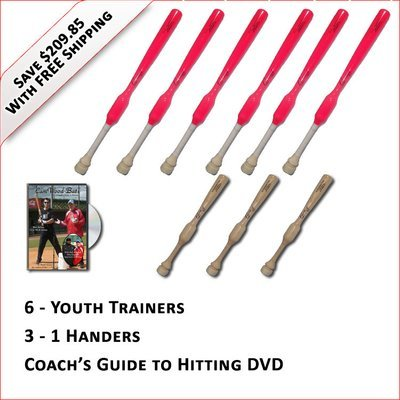 6 Youth  Softball Trainers, 3 - 1 Handers, & Coach's Guide to Hitting DVD