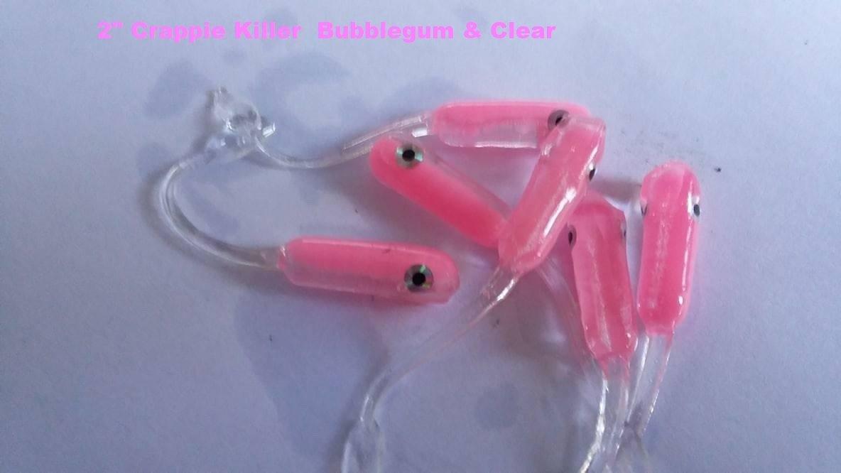 "2"" Crappie Killer Bubblegum & Clear 12 per pk"