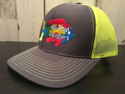 Autism Anglers Snap Back Hat-Yellow back