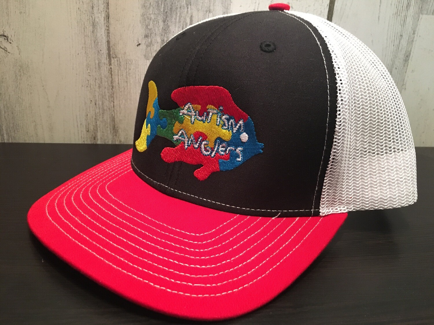 Autism Anglers Snap Back Hat- Red/Blk/Wht