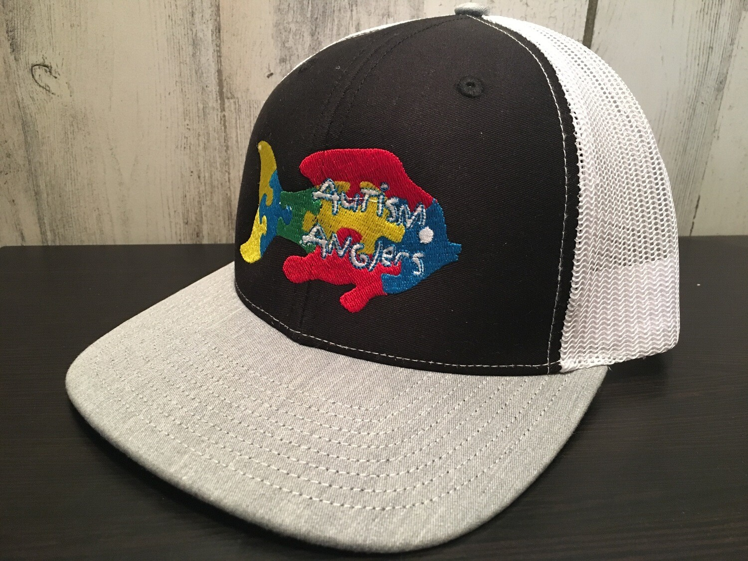 Autism Anglers Snap Back Hat- BLACK/WHITE/GREY