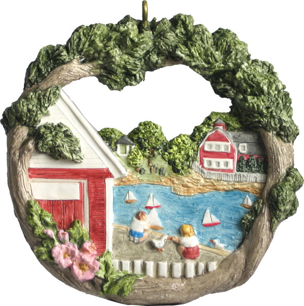 1999 Marblehead Annual Ornament - Model Boats Racing on Redd's Pond MA-MARB-AS-01178SYX99