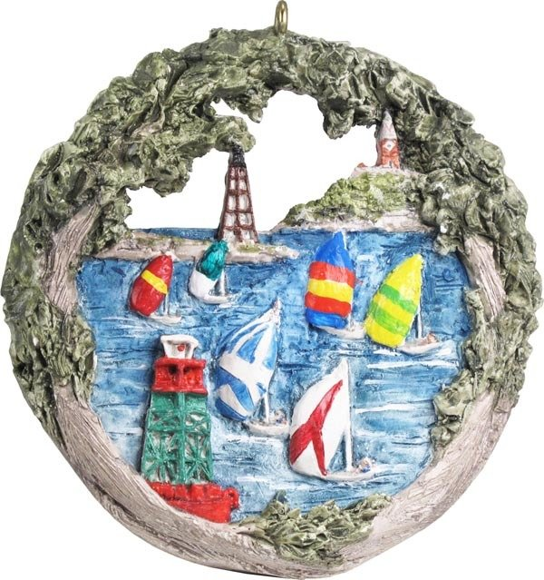 2014 Marblehead Annual Ornament - Sailboat Races off Marblehead Harbor MA-MARB-AS-04644SYX14