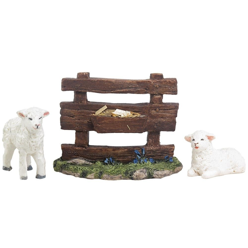 Nativity Animal - Two Lambs and a Trough