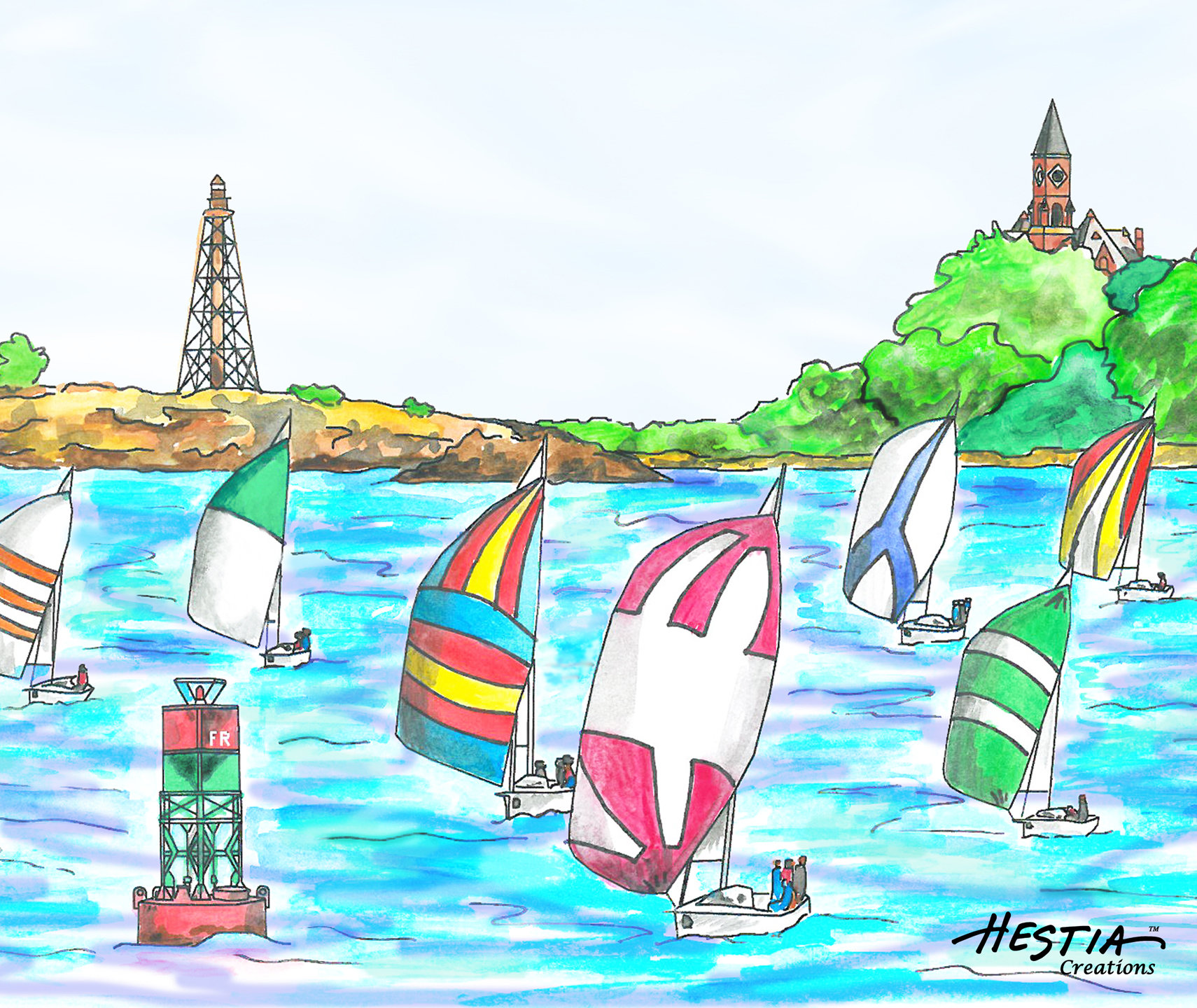 Sailboats Racing off the Harbor