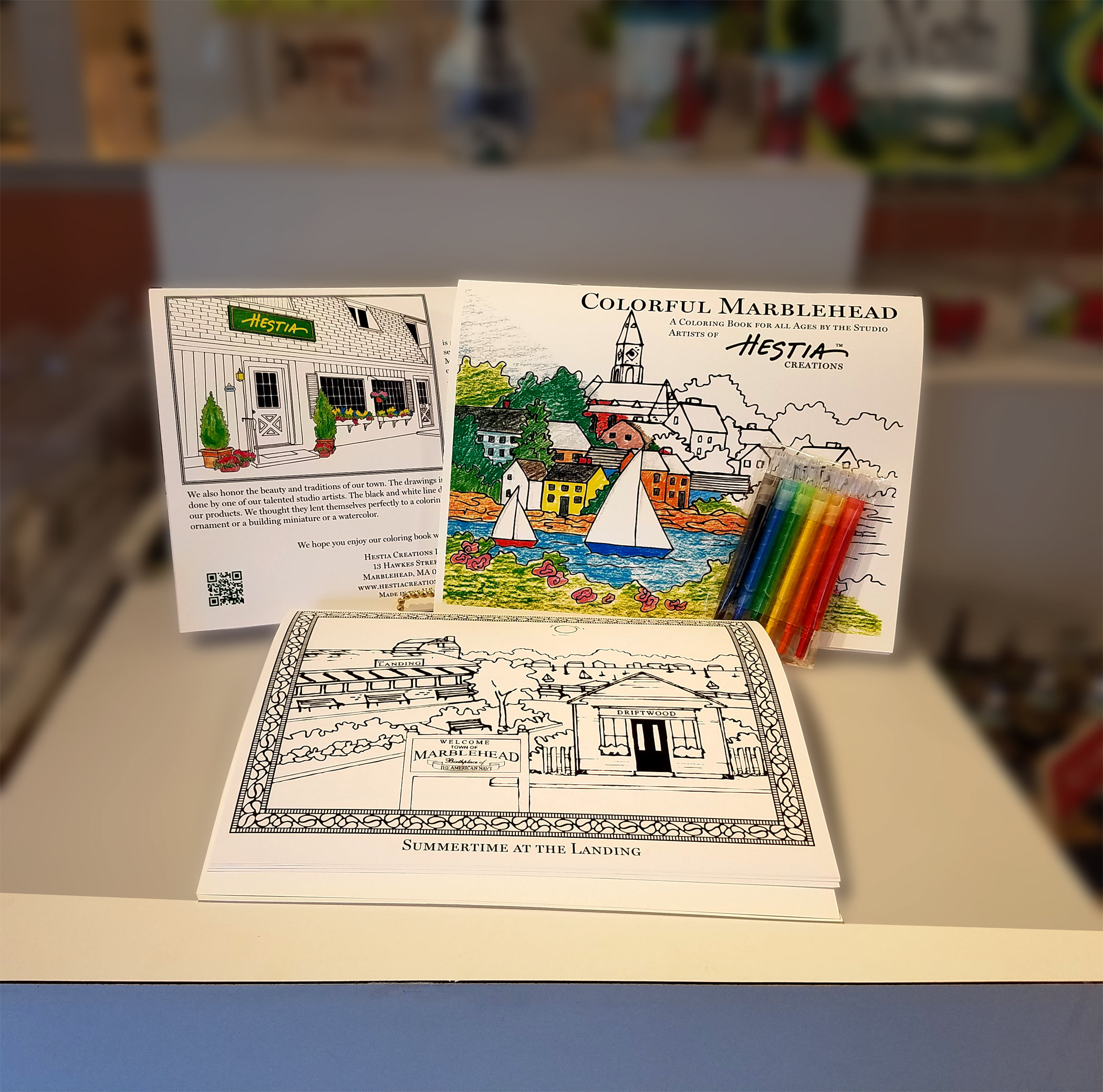 Colorful Marblehead Coloring Book - Designed by our Studio Artists MA-MARB-CB-COLORFLMHD