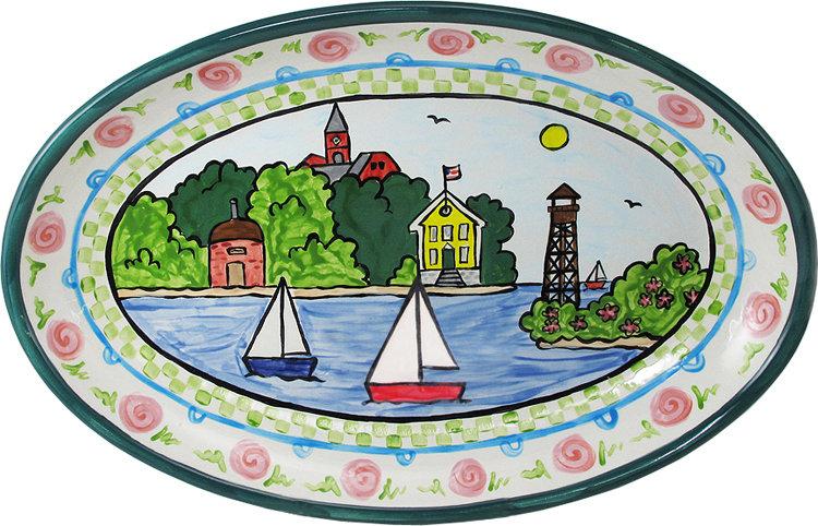 "Marblehead Ceramics  15"" Oval Platter"