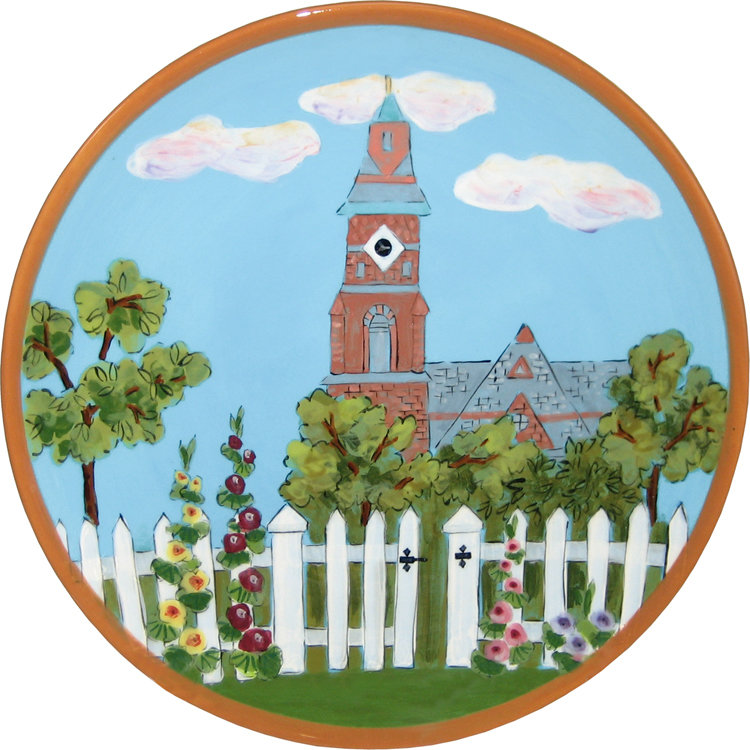 Abbot Hall and Hollyhocks