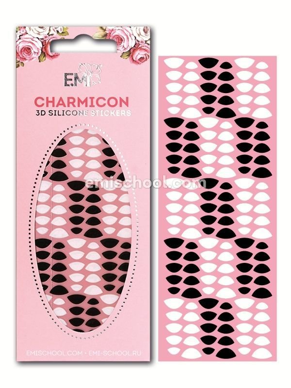 Charmicon 3D Silicone Stickers Lunula #8 Black/White