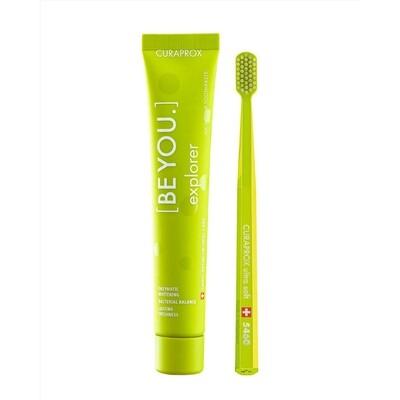 Набор Curaprox Be You Green set (Зубная паста Исследователь ЯБЛОКО и АЛОЭ + Зубная щетка CS5460)