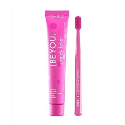 Набор Curaprox Be You Pink set (Зубная паста Любитель конфет АРБУЗ + Зубная щетка CS5460)