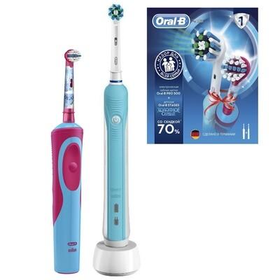 Набор из двух электрических зубных щеток ORAL-B Professional Care 500 + детская зубная щетка Vitality Stages Power Frozen