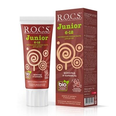 Зубная паста ROCS (РОКС) Junior. Шоколад и карамель (6-12 лет)