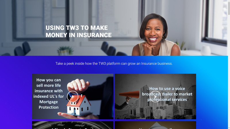 Insurance Marketing page for Email or Text marketing (Push Marketing)