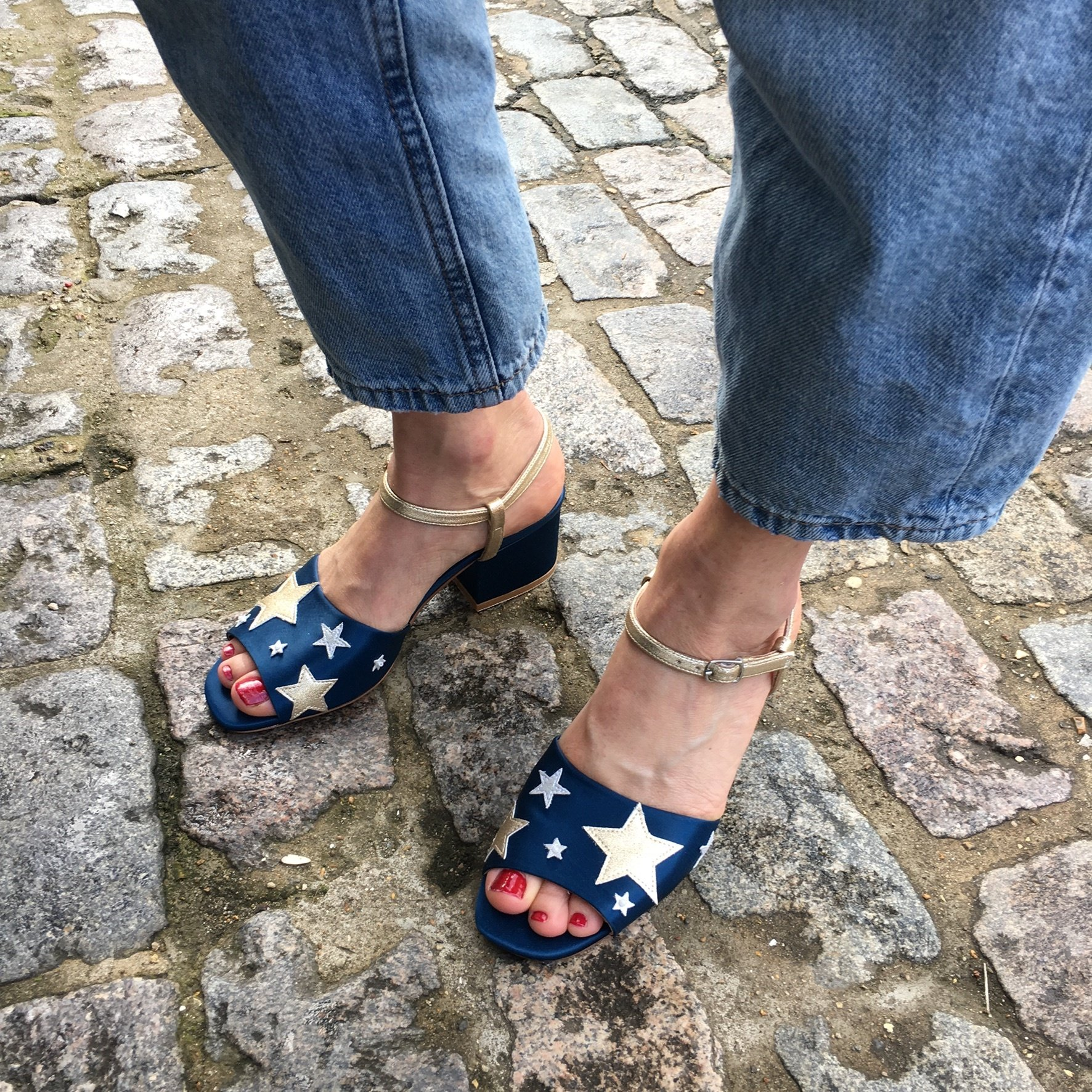 Pearl&stud newington teal star sandals