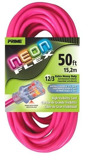 Prime Neon Flex Cord - 50ft 12/3 SJTW Neon Pink