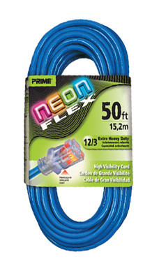 Prime Neon Flex Cord - 50ft 12/3 SJTW Neon Blue
