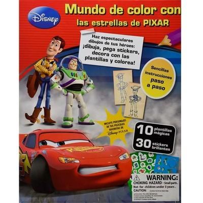 Mundo de color con pixar (10 plantilas, 30 stickers, marcadores, crayon y sacapuntas)