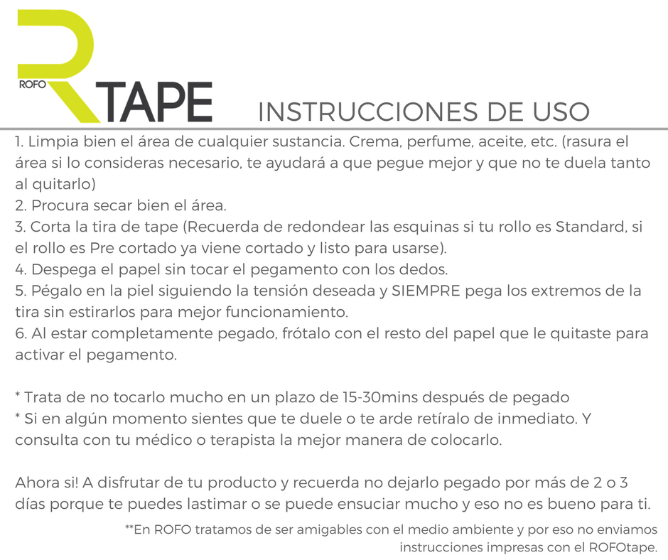 Instrucciones para una correcta aplicacion de Tape Kinesiologico en Guatemala