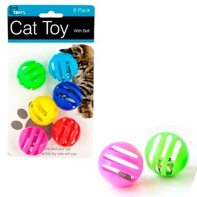 Juguete para gatos. Pelotas con campanas (6 unidades)