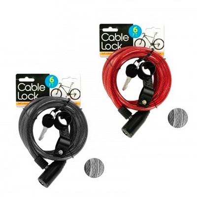 Cable con candado para bicicleta con 2 llaves (6 pies)