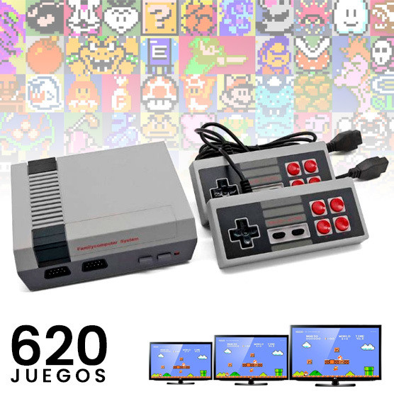 Consola NES Retro Mini 620 juegos + 2 Controles