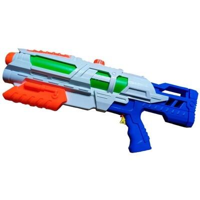 Pistola de Agua Gigante (blanca con verde anaranjado y azul)