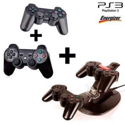 Combo de 2 Controles Inalambricos y Cargador doble para PS3