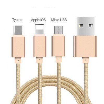 CABLE USB  3 en 1  Lightning+ Micro+ C