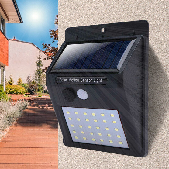 Luz LED de Pared con Panel Solar