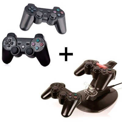 Combo 2 Controles Inalambricos y Cargador PS3