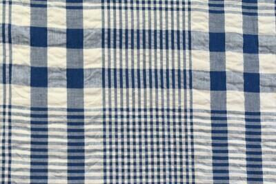 Searsucker Plaid-Blue\White