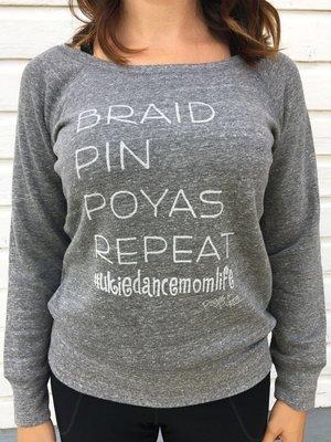 Braid Pin Poyas Repeat Ladies Wide Neck Sweatshirt