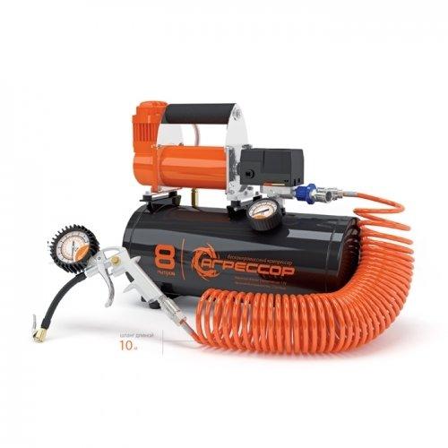 Автомобильный компрессор агрессор с ресивером 8 л agr 8lt 00703